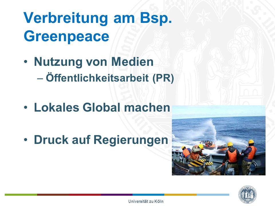 Verbreitung am Bsp. Greenpeace Nutzung von Medien –Öffentlichkeitsarbeit (PR) Lokales Global machen Druck auf Regierungen Universität zu Köln