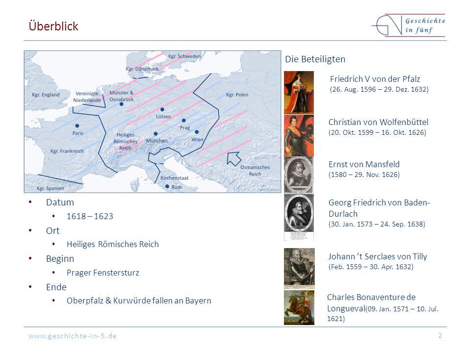 www.geschichte-in-5.de Überblick Datum 1618 – 1623 Ort Heiliges Römisches Reich Beginn Prager Fenstersturz Ende Oberpfalz & Kurwürde fallen an Bayern