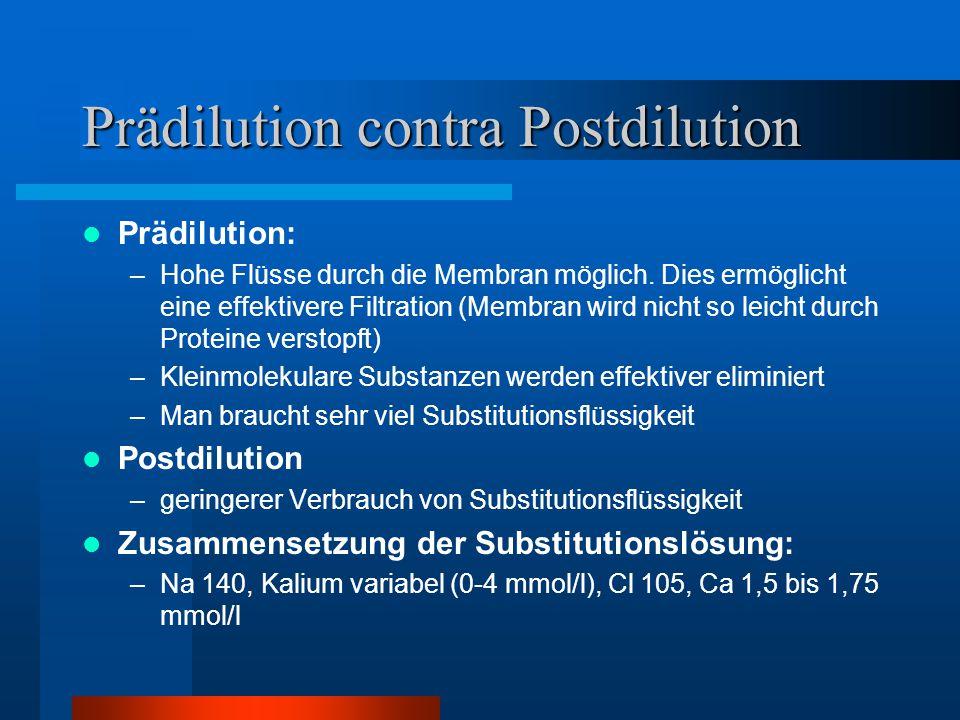 Prädilution contra Postdilution Prädilution: –Hohe Flüsse durch die Membran möglich. Dies ermöglicht eine effektivere Filtration (Membran wird nicht s