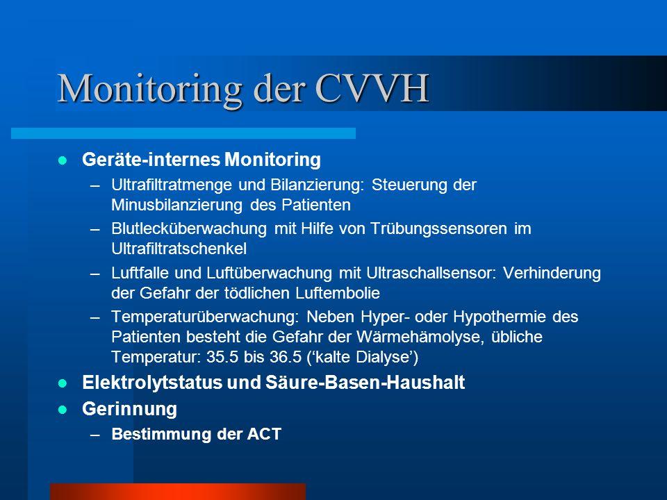 Monitoring der CVVH Geräte-internes Monitoring –Ultrafiltratmenge und Bilanzierung: Steuerung der Minusbilanzierung des Patienten –Blutlecküberwachung
