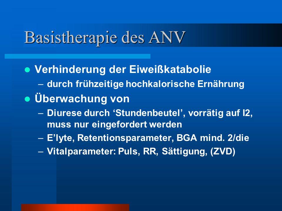 Basistherapie des ANV Verhinderung der Eiweißkatabolie –durch frühzeitige hochkalorische Ernährung Überwachung von –Diurese durch 'Stundenbeutel', vor