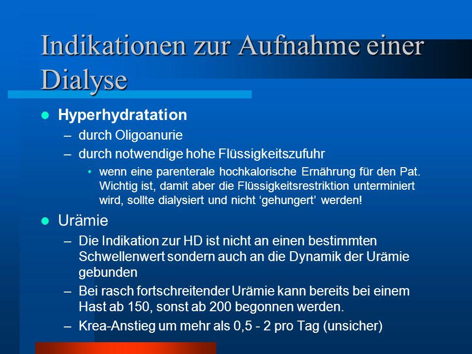 Indikationen zur Aufnahme einer Dialyse Hyperhydratation –durch Oligoanurie –durch notwendige hohe Flüssigkeitszufuhr wenn eine parenterale hochkalori
