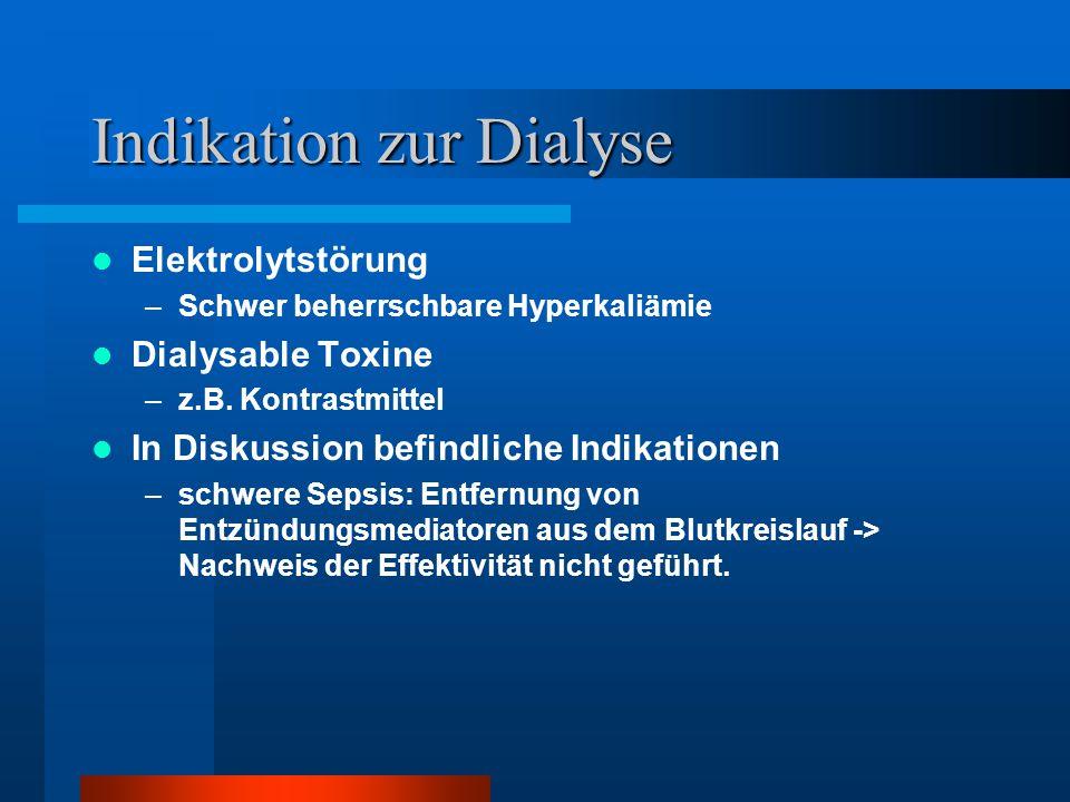 Übersicht über Dialyseverfahren CIHD: Chronisch intermittierende Hämodialyse –Standardverfahren bei terminale Niereninsuffizienz –Hohe Kreislaufbelastung und geringere Urämiekontrolle –Gute Elektrolytkontrolle, rasche Pufferung möglich Hämofiltration –CAVH: arteriovenöse HF -> historisches Verfahren –CVVH: Kontinuierliche venovenöse Hämofiltration -> Standard auf Intensivstationen Kreislaufschonend hocheffektiver Volumenentzug hocheffektive Entgiftung PD: Peritonealdialyse