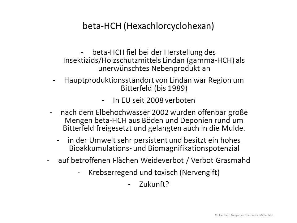beta-HCH (Hexachlorcyclohexan) -beta-HCH fiel bei der Herstellung des Insektizids/Holzschutzmittels Lindan (gamma-HCH) als unerwünschtes Nebenprodukt an -Hauptproduktionsstandort von Lindan war Region um Bitterfeld (bis 1989) -In EU seit 2008 verboten -nach dem Elbehochwasser 2002 wurden offenbar große Mengen beta-HCH aus Böden und Deponien rund um Bitterfeld freigesetzt und gelangten auch in die Mulde.