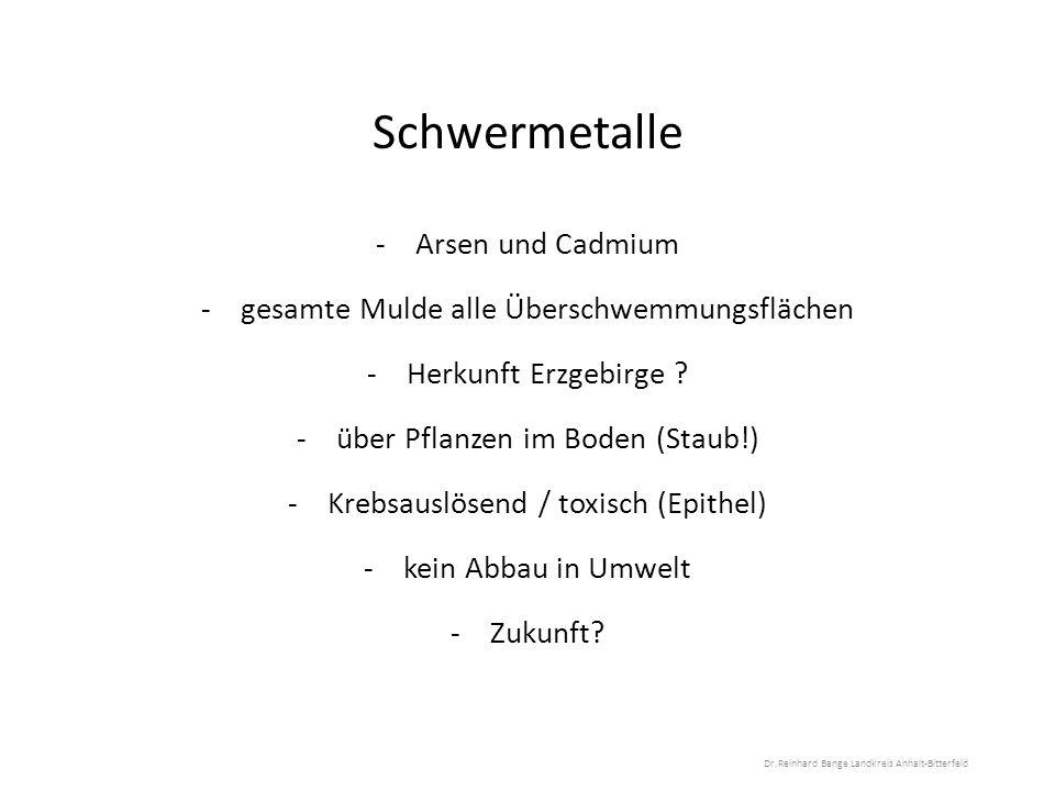 Schwermetalle -Arsen und Cadmium -gesamte Mulde alle Überschwemmungsflächen -Herkunft Erzgebirge .