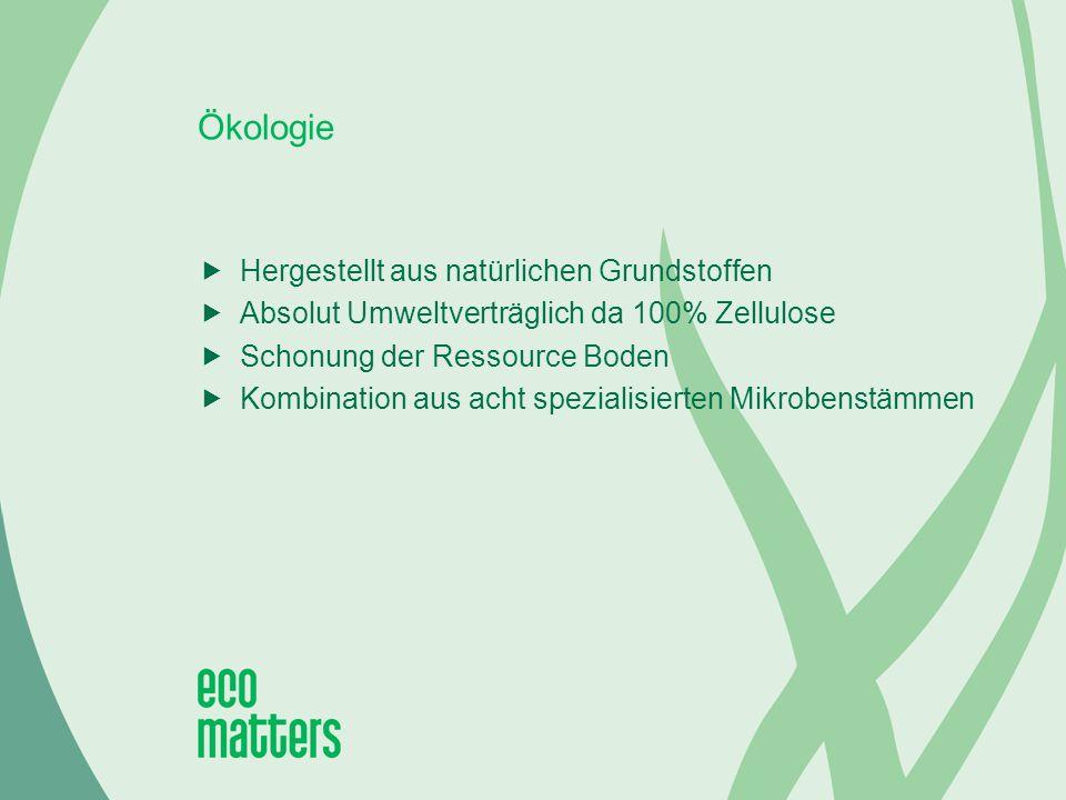 Ökologie  Hergestellt aus natürlichen Grundstoffen  Absolut Umweltverträglich da 100% Zellulose  Schonung der Ressource Boden  Kombination aus acht spezialisierten Mikrobenstämmen