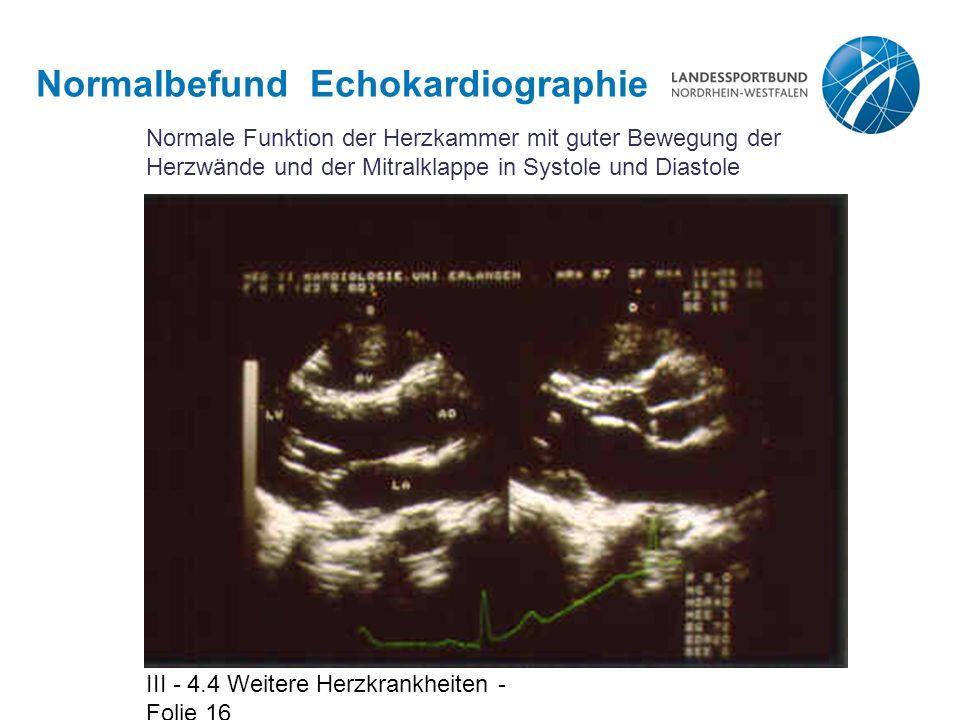 III - 4.4 Weitere Herzkrankheiten - Folie 16 Normalbefund Echokardiographie Normale Funktion der Herzkammer mit guter Bewegung der Herzwände und der M