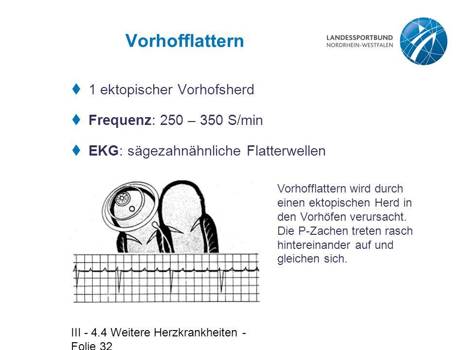 III - 4.4 Weitere Herzkrankheiten - Folie 32 Vorhofflattern  1 ektopischer Vorhofsherd  Frequenz: 250 – 350 S/min  EKG: sägezahnähnliche Flatterwel