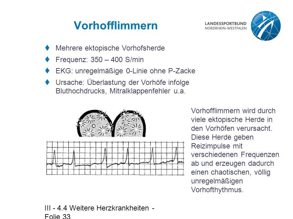 III - 4.4 Weitere Herzkrankheiten - Folie 33 Vorhofflimmern  Mehrere ektopische Vorhofsherde  Frequenz: 350 – 400 S/min  EKG: unregelmäßige 0-Linie