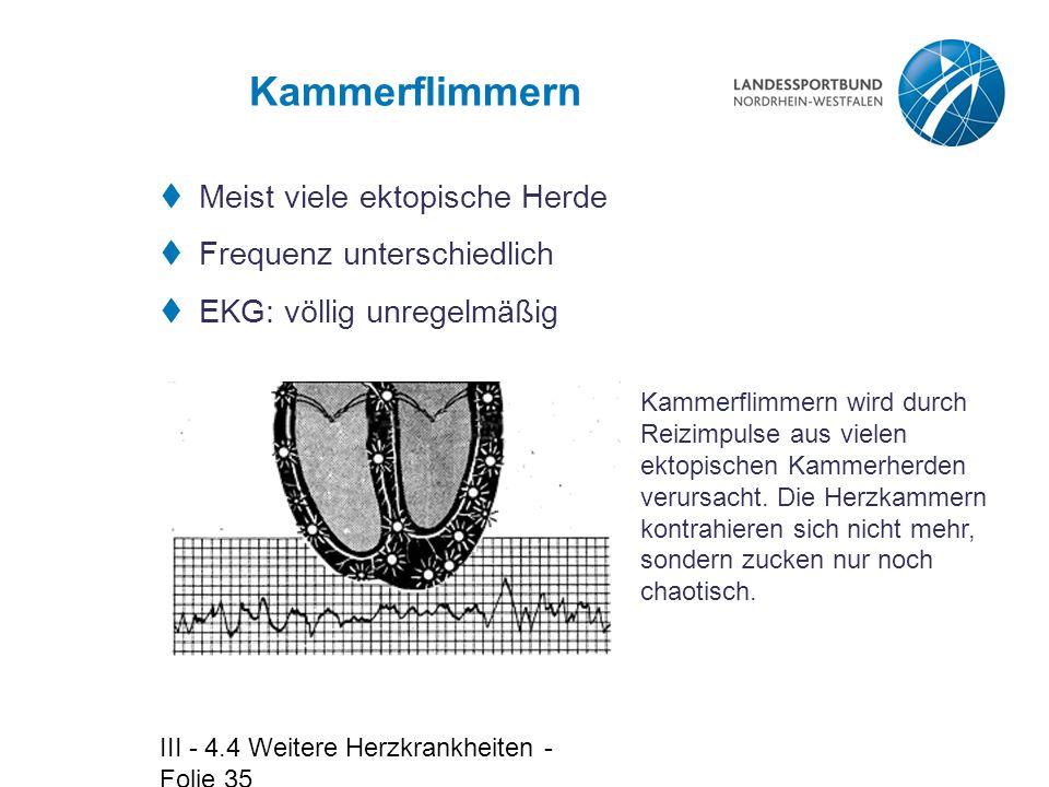 III - 4.4 Weitere Herzkrankheiten - Folie 35 Kammerflimmern  Meist viele ektopische Herde  Frequenz unterschiedlich  EKG: völlig unregelmäßig Kamme