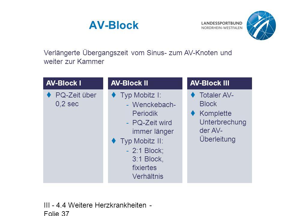 III - 4.4 Weitere Herzkrankheiten - Folie 37 AV-Block AV-Block I  PQ-Zeit über 0,2 sec Verlängerte Übergangszeit vom Sinus- zum AV-Knoten und weiter