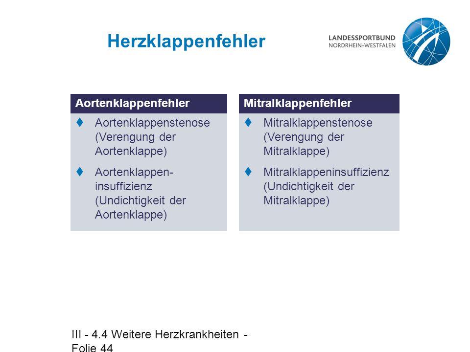 III - 4.4 Weitere Herzkrankheiten - Folie 44 Herzklappenfehler Aortenklappenfehler  Aortenklappenstenose (Verengung der Aortenklappe)  Aortenklappen