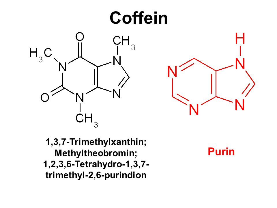 Coffein 1,3,7-Trimethylxanthin; Methyltheobromin; 1,2,3,6-Tetrahydro-1,3,7- trimethyl-2,6-purindion Purin