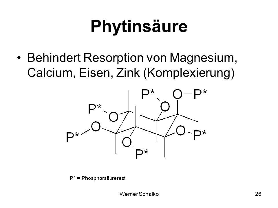 Werner Schalko26 Phytinsäure Behindert Resorption von Magnesium, Calcium, Eisen, Zink (Komplexierung)