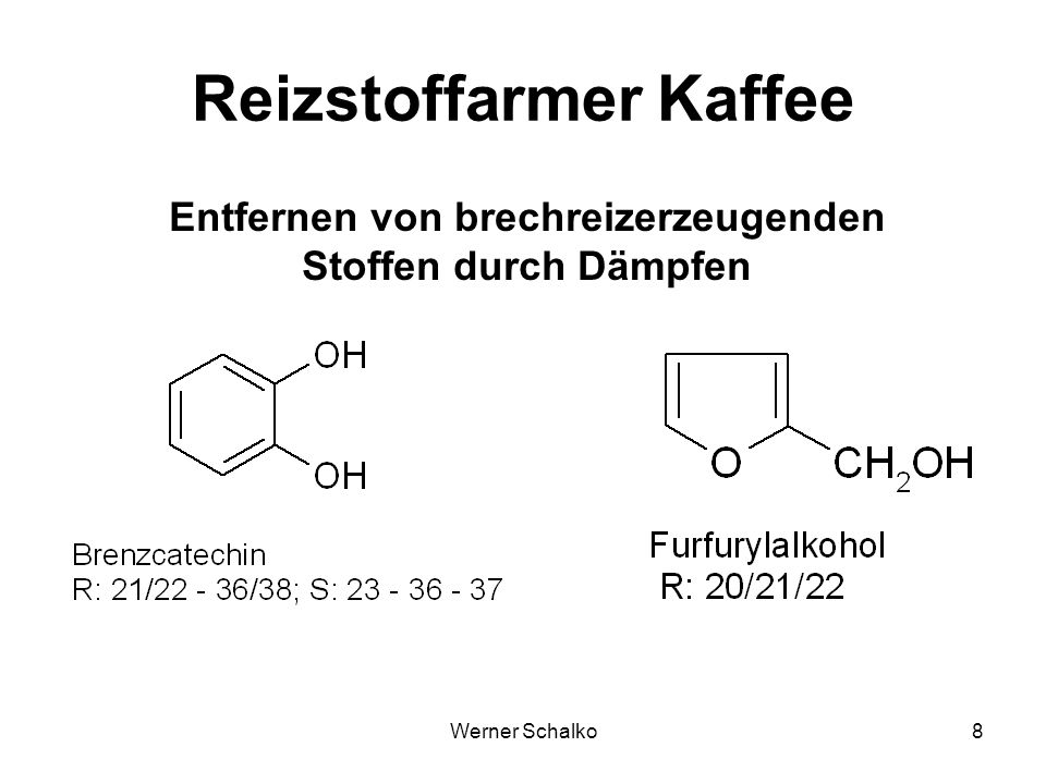 Werner Schalko9 Inhaltsstoffe vor und nach Röstung