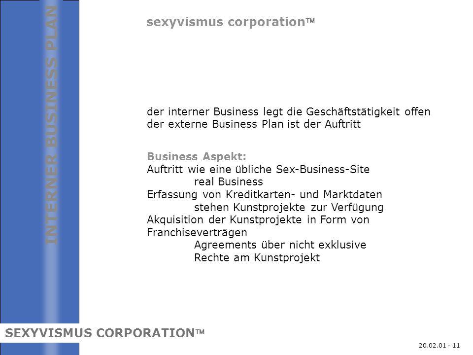 20.02.01 - 11 sexyvismus corporation INTERNER BUSINESS PLAN SEXYVISMUS CORPORATION der interner Business legt die Geschäftstätigkeit offen der exter