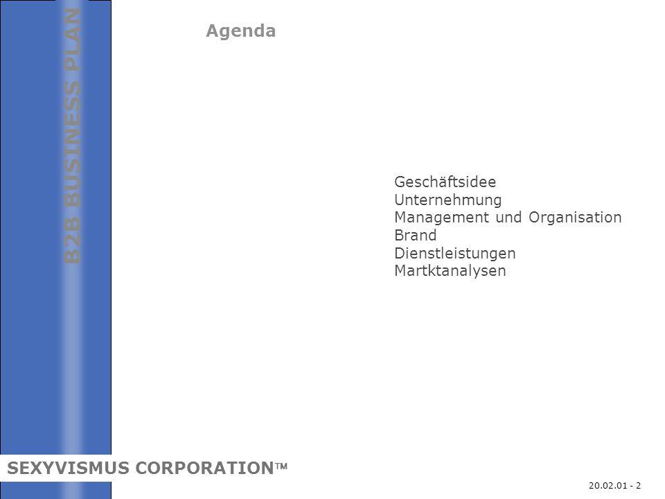 20.02.01 - 2 Agenda Geschäftsidee Unternehmung Management und Organisation Brand Dienstleistungen Martktanalysen B2B BUSINESS PLAN SEXYVISMUS CORPORAT