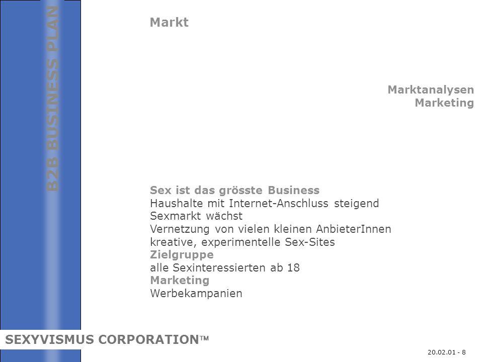 20.02.01 - 8 Markt Marktanalysen Marketing Sex ist das grösste Business Haushalte mit Internet-Anschluss steigend Sexmarkt wächst Vernetzung von viele