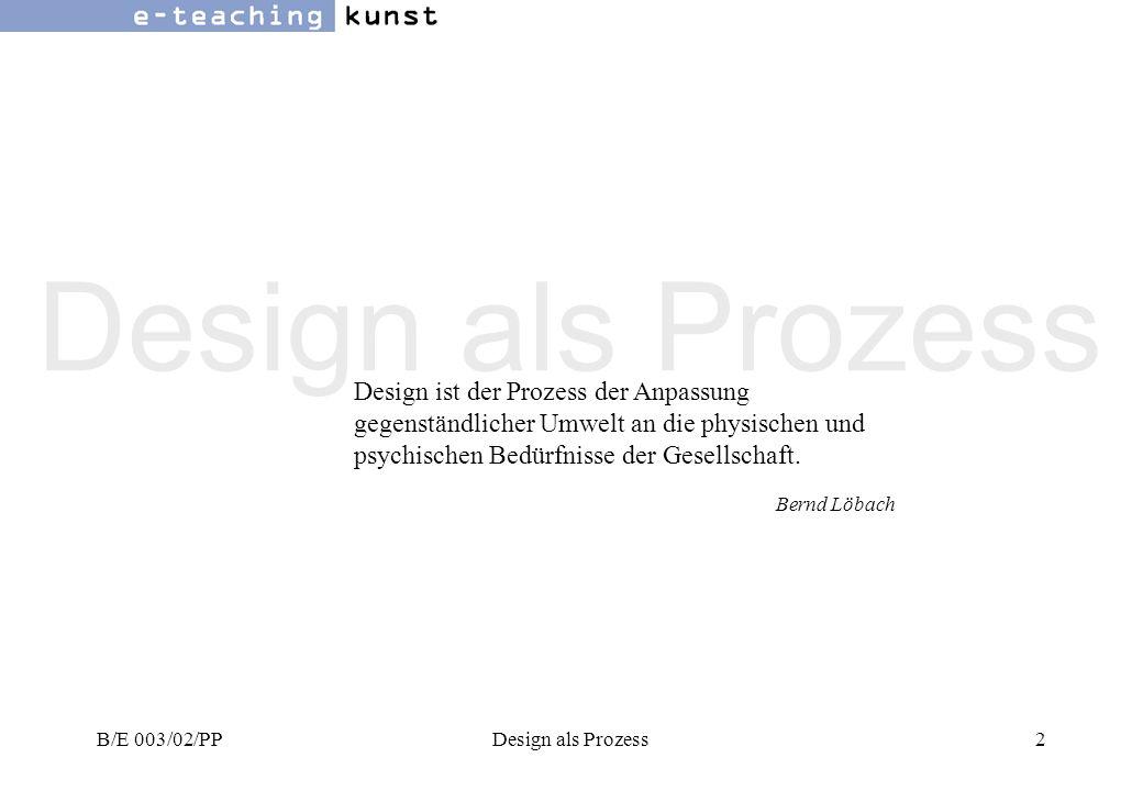 B/E 003/02/PPDesign als Prozess63 Links zum Thema Design Institutionen Design Austria, Berufsverband österreichischer Designerwww.designaustria.atwww.designaustria.at Österreichische Designstiftungwww.designstiftung.atwww.designstiftung.at ICSID Int.
