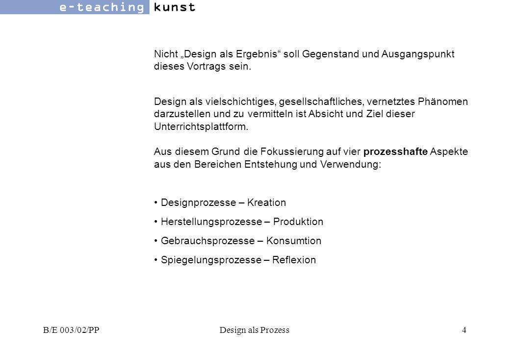 B/E 003/02/PPDesign als Prozess15 Phasenmodell für eine Produktentwicklung Designprozesse 7.