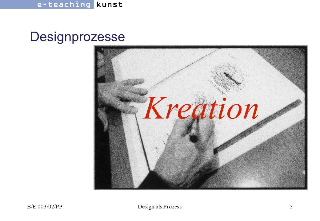 B/E 003/02/PPDesign als Prozess16 Designprozesse Eine andere Möglichkeit diesen Themenbereich zu beleuchten ist einzelne, persönliche Arbeitsstrategien zu studieren.