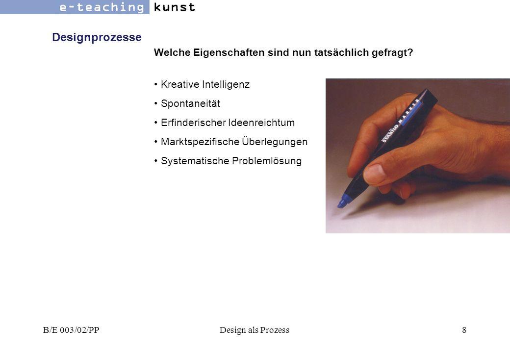 B/E 003/02/PPDesign als Prozess59 Reflexionsprozesse Die erfolgreichen/erfolglosen Bemühungen von Design- organisationen wie dem Institut für Formgebung oder der Designstiftung oder Design Austria, dem Berufsverband österreichischer Designer zur Klärung des Designbegriffs beizutragen.