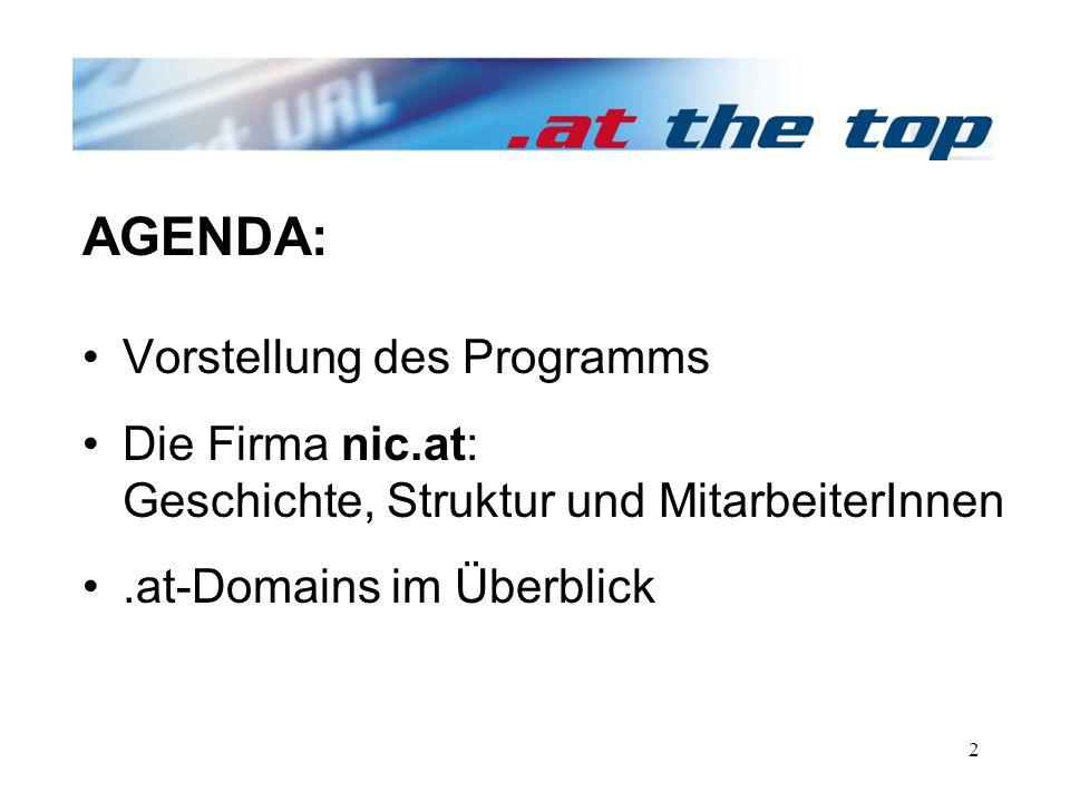 2 Vorstellung des Programms Die Firma nic.at: Geschichte, Struktur und MitarbeiterInnen.at-Domains im Überblick AGENDA: