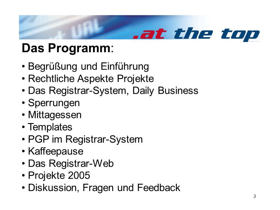 3 Das Programm: Begrüßung und Einführung Rechtliche Aspekte Projekte Das Registrar-System, Daily Business Sperrungen Mittagessen Templates PGP im Registrar-System Kaffeepause Das Registrar-Web Projekte 2005 Diskussion, Fragen und Feedback