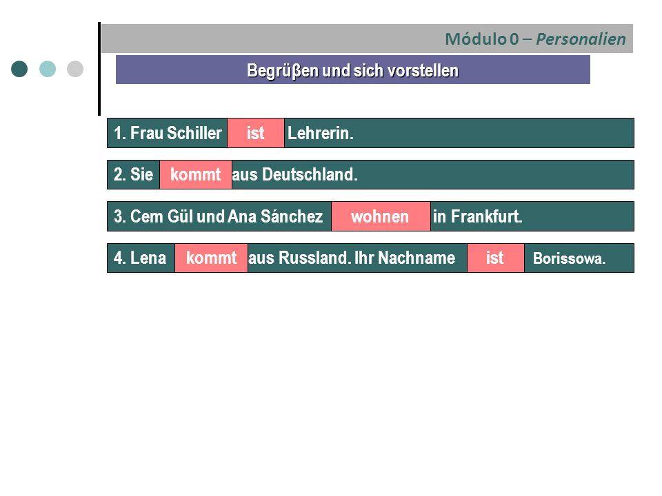 Módulo 0 – Personalien 1. Frau Schiller Lehrerin. Begrüβen und sich vorstellen ist 2. Sie aus Deutschland.kommt 3. Cem Gül und Ana Sánchez in Frankfur