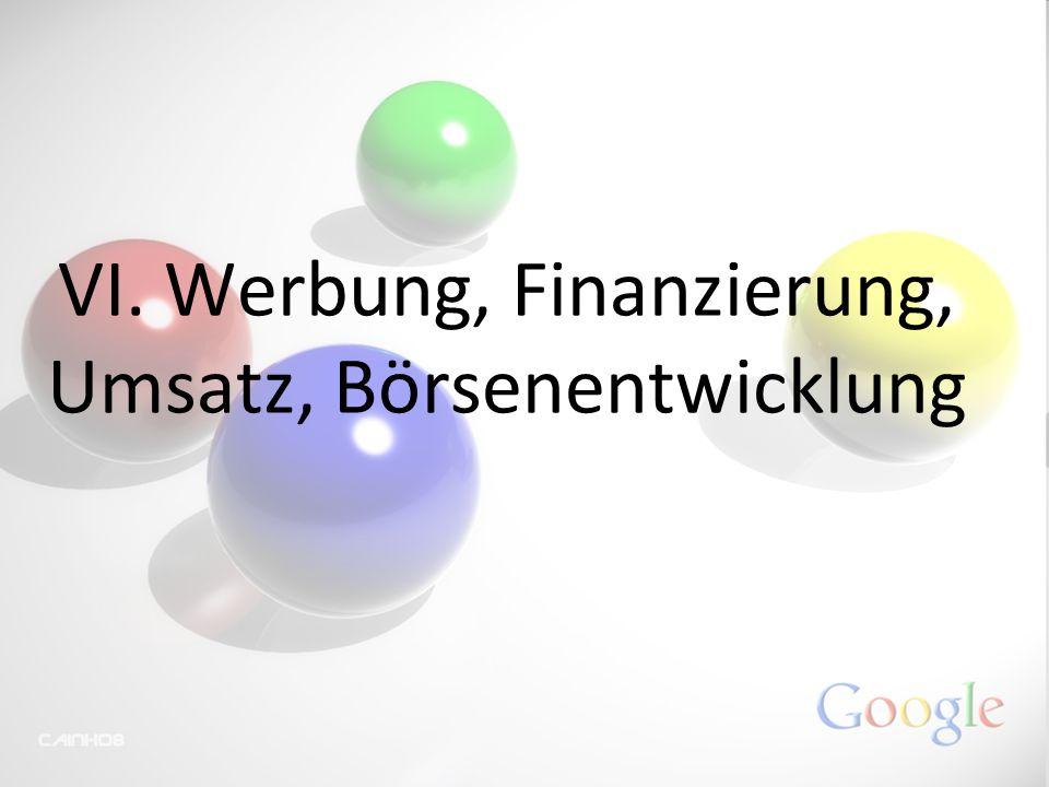 VI. Werbung, Finanzierung, Umsatz, Börsenentwicklung