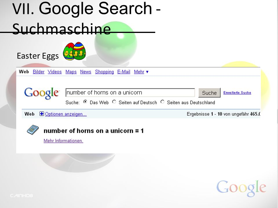 VII. Google Search - Suchmaschine Easter Eggs