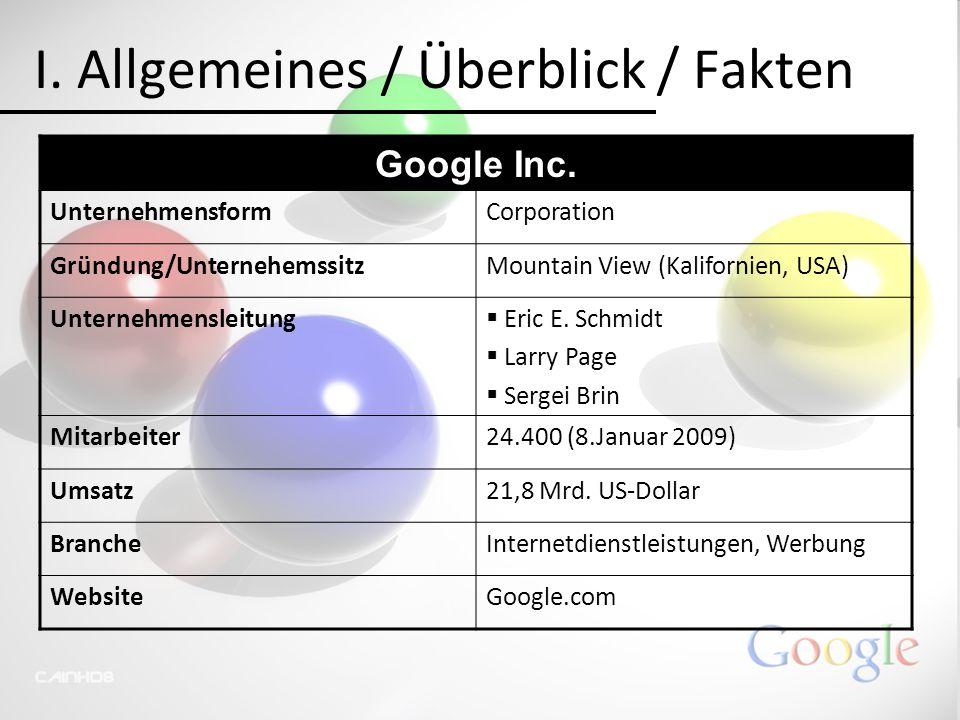 I. Allgemeines / Überblick / Fakten Google Inc. UnternehmensformCorporation Gründung/UnternehemssitzMountain View (Kalifornien, USA) Unternehmensleitu
