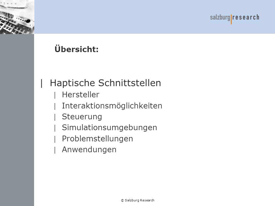 © Salzburg Research Hersteller: |FCS Robotics: | Simulatoren | Haptische Geräte |Immersion Corporation | Haptische Geräte