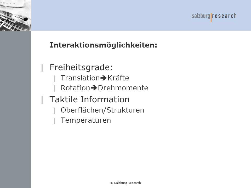 © Salzburg Research Steuerung: |Position Control | Direkte Umsetzung |Rate Control | Interpretation (v, a, F) |Restriktionen | Verbotene Bereiche