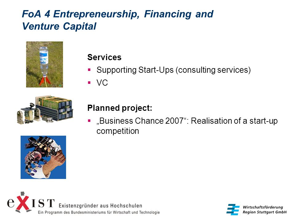 "FoA 4 Entrepreneurship, Financing and Venture Capital Services  Supporting Start-Ups (consulting services)  VC Planned project:  ""Business Chance 2"
