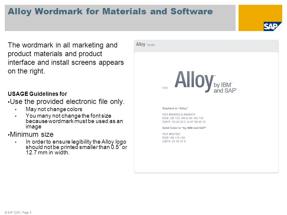 Alloy Wordmark for Materials and Software The wordmark in all marketing and product materials and product interface and install screens appears on the right.