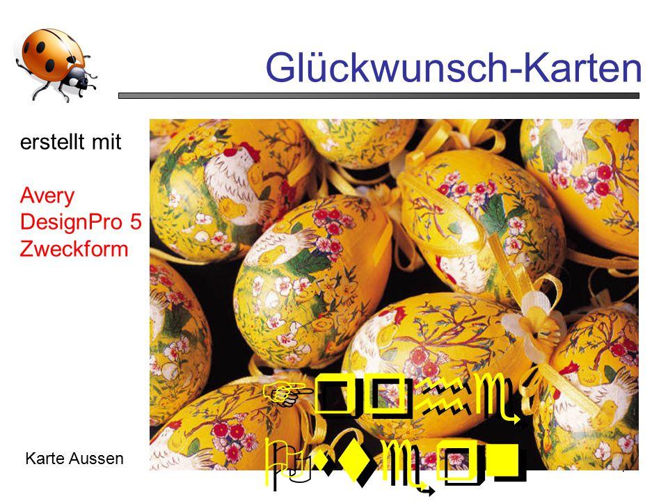 7 Glückwunsch-Karten Karte Aussen Frohe Ostern erstellt mit Avery DesignPro 5 Zweckform