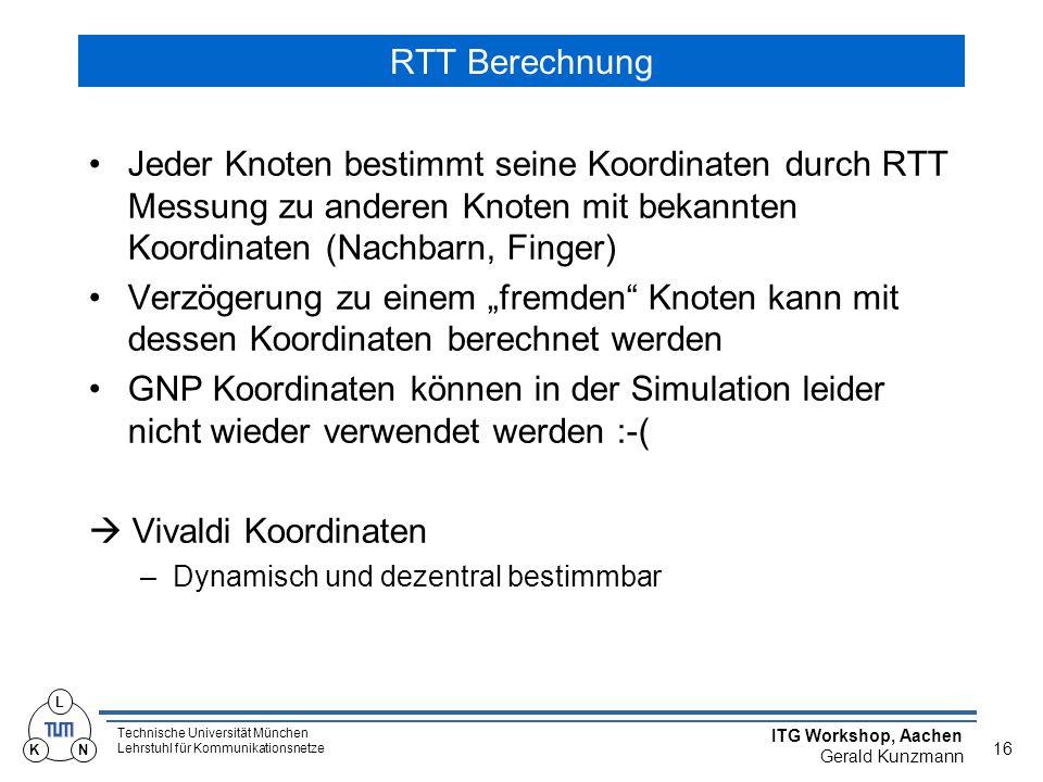 """Technische Universität München Lehrstuhl für Kommunikationsnetze ITG Workshop, Aachen Gerald Kunzmann 16 L KN RTT Berechnung Jeder Knoten bestimmt seine Koordinaten durch RTT Messung zu anderen Knoten mit bekannten Koordinaten (Nachbarn, Finger) Verzögerung zu einem """"fremden Knoten kann mit dessen Koordinaten berechnet werden GNP Koordinaten können in der Simulation leider nicht wieder verwendet werden :-(  Vivaldi Koordinaten –Dynamisch und dezentral bestimmbar"""