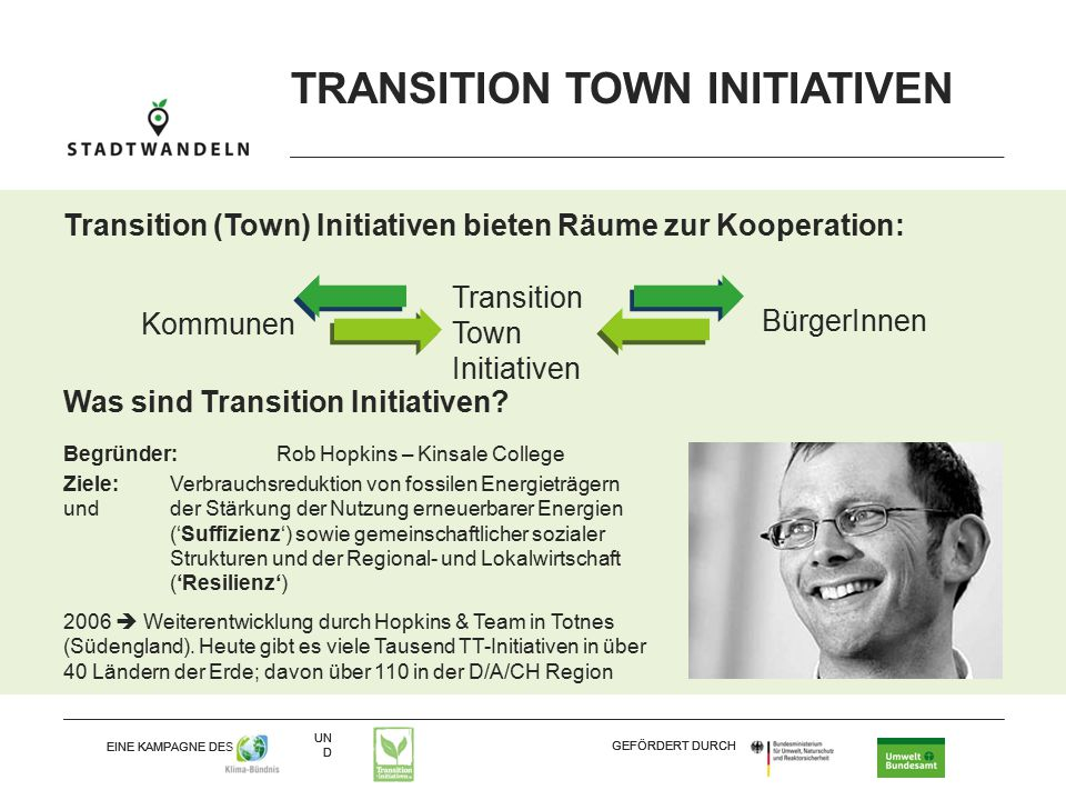 UN D EINE KAMPAGNE DES GEFÖRDERT DURCH UN D EINE KAMPAGNE DES GEFÖRDERT DURCH TRANSITION TOWN INITIATIVEN Transition (Town) Initiativen bieten Räume zur Kooperation: BürgerInnen Kommunen Transition Town Initiativen Was sind Transition Initiativen.