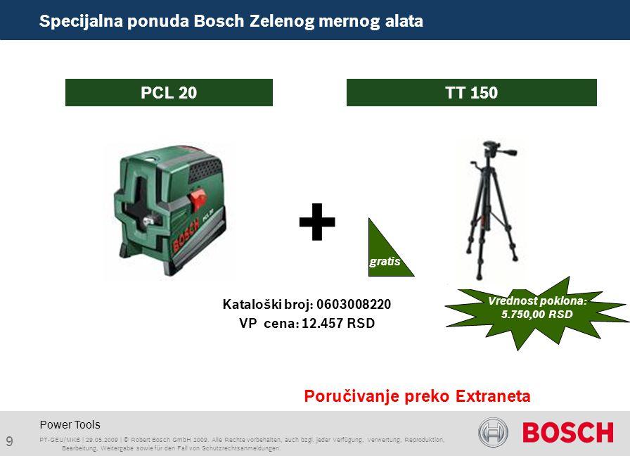 Power Tools + Poručivanje preko Extraneta PCL 20 TT 150 PT-GEU/MKB | 29.05.2009 | © Robert Bosch GmbH 2009.