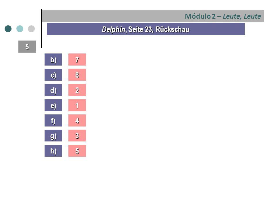 Módulo 2 – Leute, Leute Delphin, Seite 23, Rückschau b)7 5 c) d) e) f) g) h) 8 2 1 4 3 5
