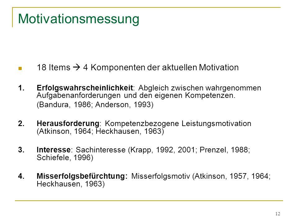12 Motivationsmessung 18 Items  4 Komponenten der aktuellen Motivation 1.Erfolgswahrscheinlichkeit: Abgleich zwischen wahrgenommen Aufgabenanforderungen und den eigenen Kompetenzen.