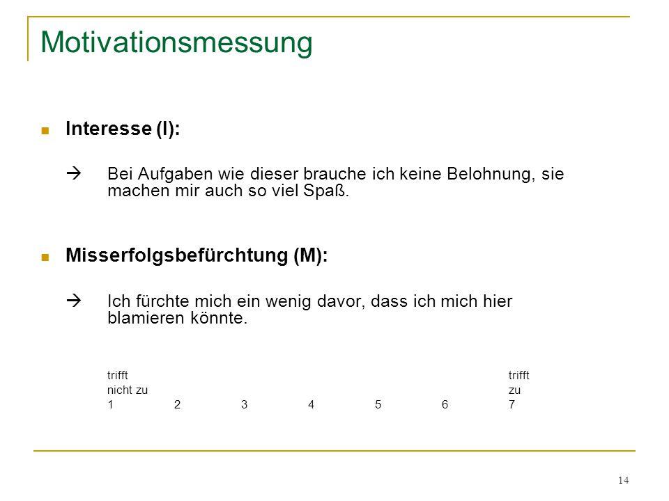 14 Motivationsmessung Interesse (I):  Bei Aufgaben wie dieser brauche ich keine Belohnung, sie machen mir auch so viel Spaß. Misserfolgsbefürchtung (