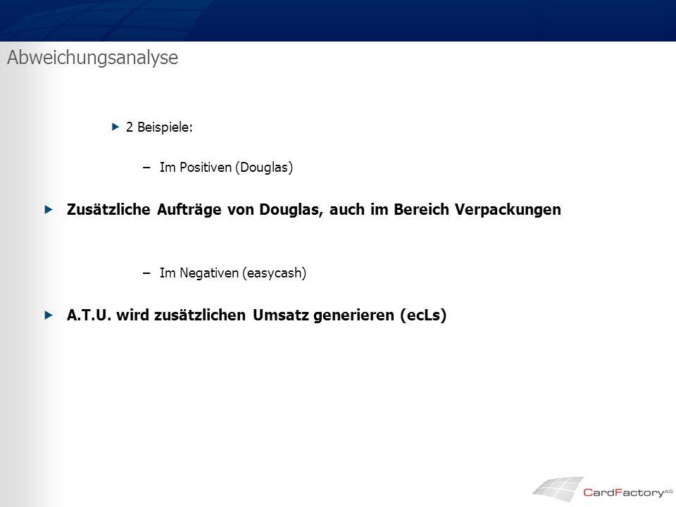 Abweichungsanalyse  2 Beispiele: –Im Positiven (Douglas)  Zusätzliche Aufträge von Douglas, auch im Bereich Verpackungen –Im Negativen (easycash)  A.T.U.