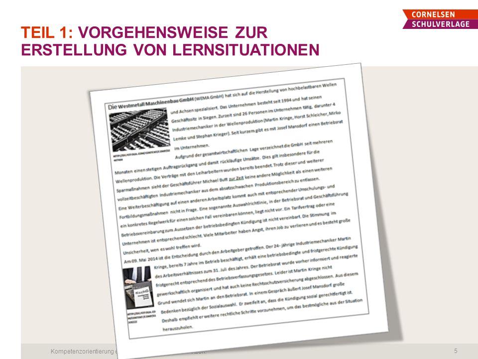 TEIL 1: VORGEHENSWEISE ZUR ERSTELLUNG VON LERNSITUATIONEN Kompetenzorientierung erfolgreich in die Praxis umsetzen.