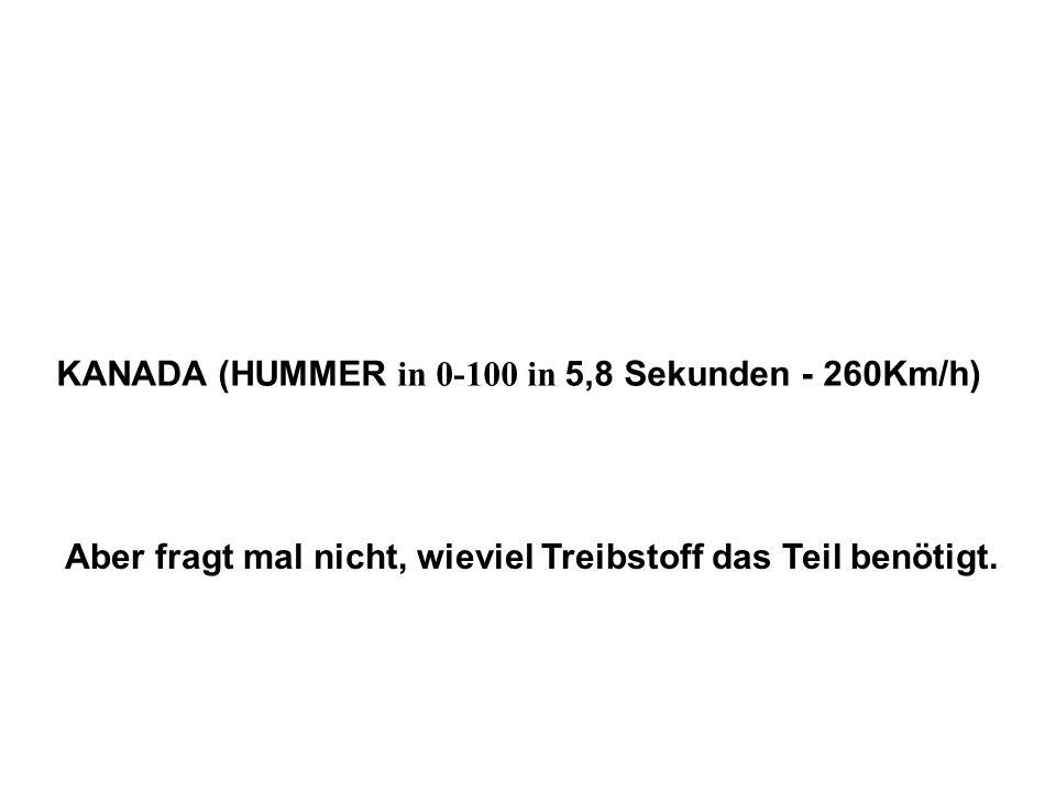 KANADA (HUMMER in 0-100 in 5,8 Sekunden - 260Km/h) Aber fragt mal nicht, wieviel Treibstoff das Teil benötigt.