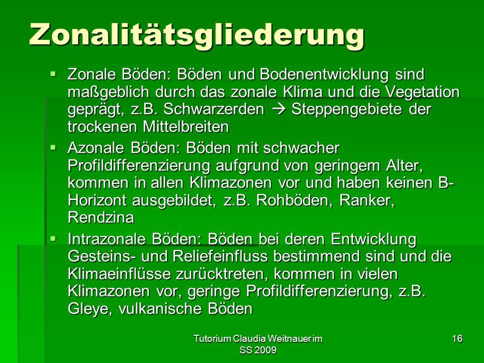 Tutorium Claudia Weitnauer im SS 2009 16 Zonalitätsgliederung  Zonale Böden: Böden und Bodenentwicklung sind maßgeblich durch das zonale Klima und die Vegetation geprägt, z.B.