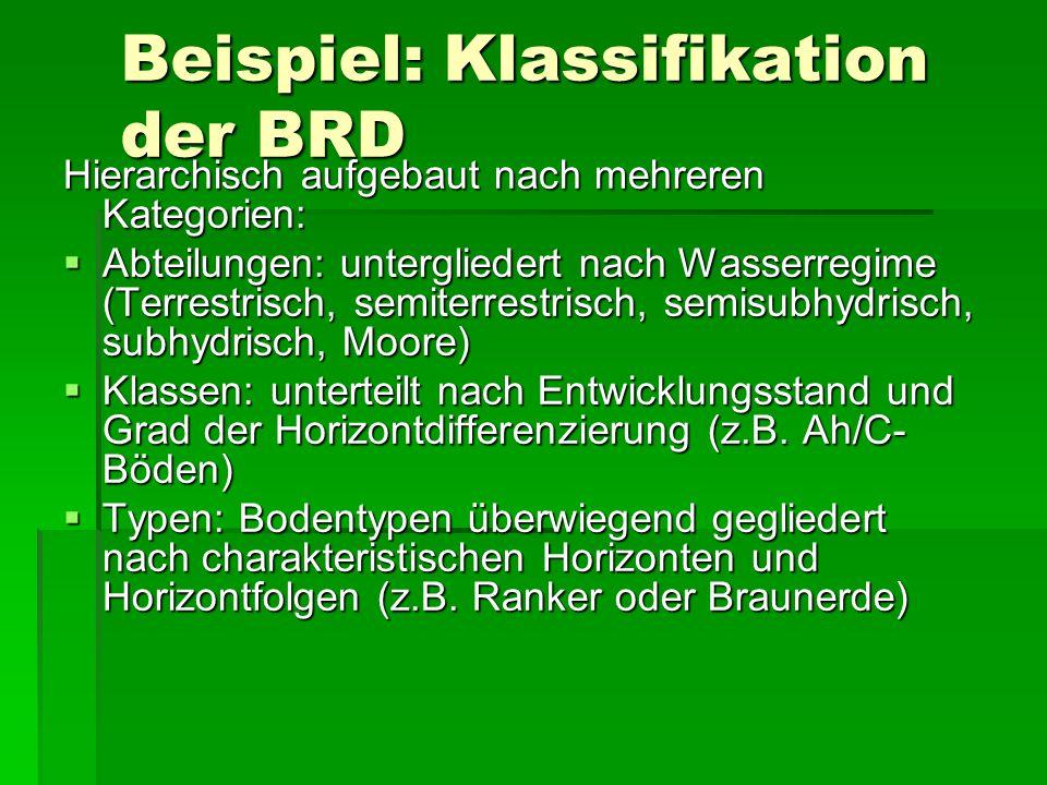 Beispiel: Klassifikation der BRD Hierarchisch aufgebaut nach mehreren Kategorien:  Abteilungen: untergliedert nach Wasserregime (Terrestrisch, semite