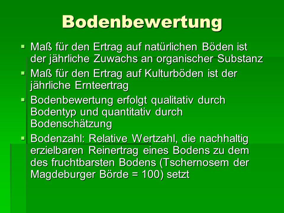 Bodenbewertung  Maß für den Ertrag auf natürlichen Böden ist der jährliche Zuwachs an organischer Substanz  Maß für den Ertrag auf Kulturböden ist der jährliche Ernteertrag  Bodenbewertung erfolgt qualitativ durch Bodentyp und quantitativ durch Bodenschätzung  Bodenzahl: Relative Wertzahl, die nachhaltig erzielbaren Reinertrag eines Bodens zu dem des fruchtbarsten Bodens (Tschernosem der Magdeburger Börde = 100) setzt