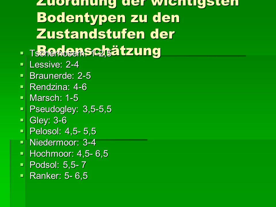 Zuordnung der wichtigsten Bodentypen zu den Zustandstufen der Bodenschätzung  Tschernosem: 1-2,5  Lessive: 2-4  Braunerde: 2-5  Rendzina: 4-6  Marsch: 1-5  Pseudogley: 3,5-5,5  Gley: 3-6  Pelosol: 4,5- 5,5  Niedermoor: 3-4  Hochmoor: 4,5- 6,5  Podsol: 5,5- 7  Ranker: 5- 6,5